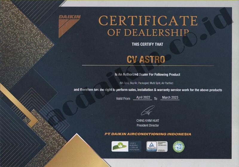 sertifikat dealer daikin